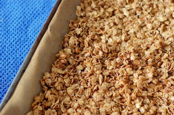 "Smash it down, pressing it as if you were making granola bars.  This encourages clumping, a definite ""yes"" in my book."