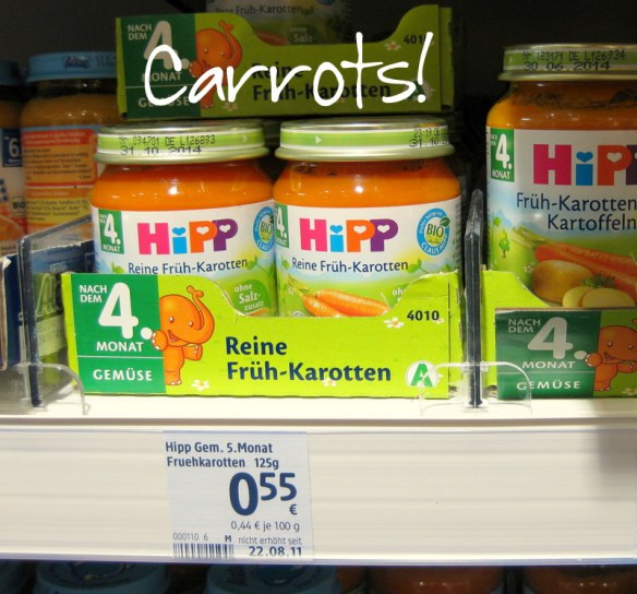German babies all start with the same food - carrots.  It is the only vegetable I have found that comes by itself in a jar.  Watch out though - some brands have added oil to provide omega 3.