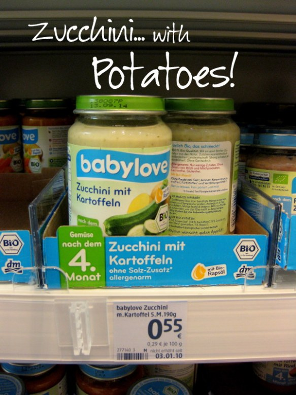 The only other green vegetable I've seen is zucchini.. but again, it's with potatoes.  Carrots and potatoes are the German baby food staples.