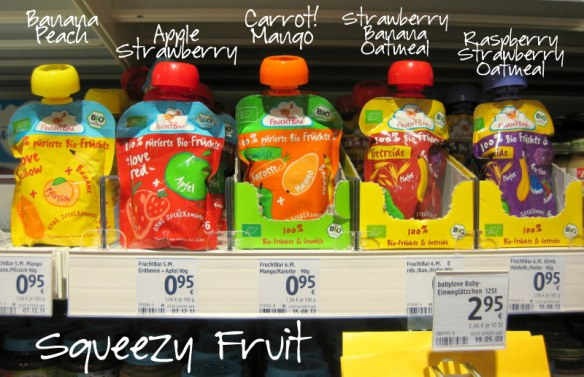 Okay, the TV dinners and these squeezy fruits aren't jars, but whatever.  I know these pouches are all the rage in the US, but they have just started catching on in Germany.  They're here, but few and far between.