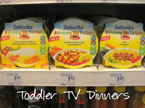 As in the US, there are a few toddler TV dinners.  I'm not big into these because by the time the baby is one year old, they usually eat everything that the rest of the family eats.  But just in case you're looking for a microwave meal, there you have it.