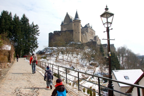 The castle is a short walk from the small parking lots on the side of the hill.