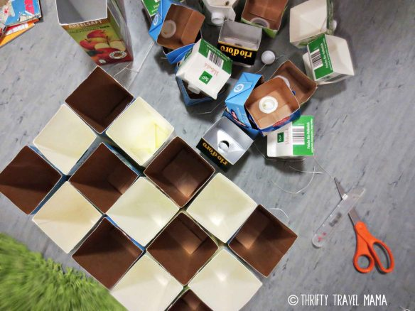 Thrifty Travel Mama | Upcycled Scarf Organizer - made from milk cartons and maps!